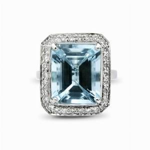 Aquamarine & Diamond Cluster Ring - 4.50ct